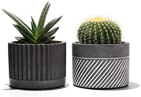 Potey Cement Planter Flower Pot – 4.1 Bonsai Containers Unglazed Medium for Indoor Plant with Drain Hole – Set of 2