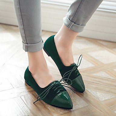Cómodo y elegante soporte de zapatos de las mujeres zapatos Flats comodidad de primavera verano otoño cuero sintético oficina y carrera Casual soporte de talón cordones negro azul verde rojo otros rojo