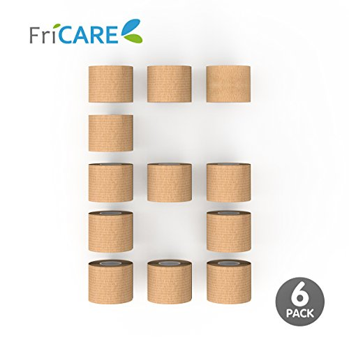 "6 Pack - FriCARE 2"" wide x 5 yards Nonwoven Self-adhesive Bandage, Self-adherent Cohesive First Aid Medical Wrap (With FDA), Elastic Althetic/Vet Tape for Wrist,Ankle Sprain & Swelling"