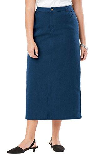 (Jessica London Women's Plus Size Classic Cotton Denim Long Skirt - Twilight Teal, 18)
