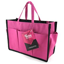 Periea Beauty Cosmetic Handbag Organizer + Free Key Clip Liner 11 Compartments Large - Bright Pink - Kristine