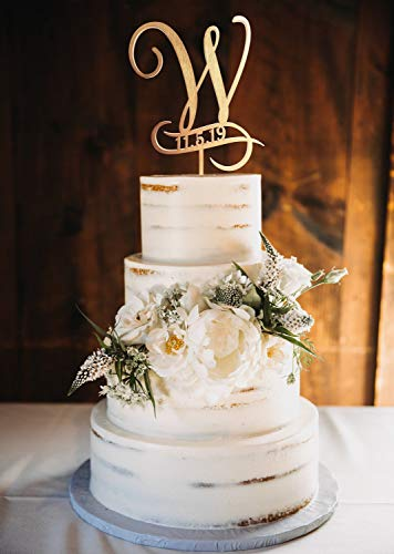 Cake Topper W Сake topper Rustic weding Cake Topper Personalized cake topper date Initial cake topper wood letter W Cake toppers for wedding]()
