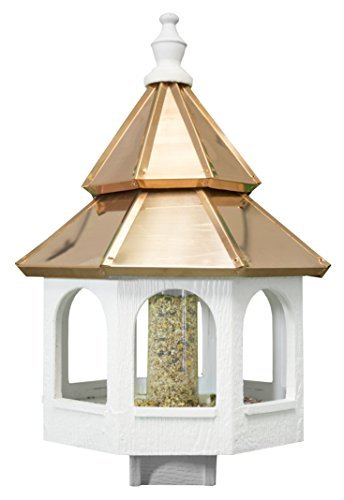 Amish 30'' Bird Feeder with Double Copper Roof, Handcrafted in the USA
