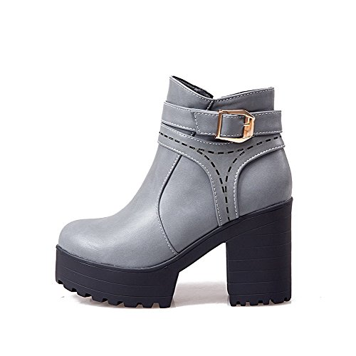 AllhqFashion Womens Low-Top Solid Zipper Round Closed Toe High Heels Boots Gray IrySO6