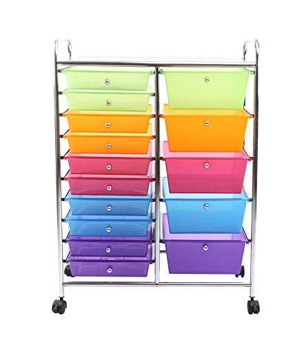 Finnhomy 15 Drawer Rolling Cart Storage Rolling Carts With