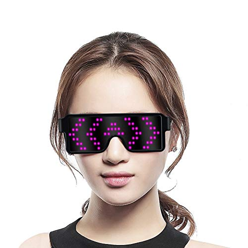 Fancy LED Light up Glasses USB Rechargeable Wireless with Flashing LED Display 8 Dynamic Patterns Unisex Glowing Luminous Glasses for Christmas Party Bars Rave Festival Dancing Shows,etc.