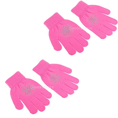 Baosity 2 Pairs Girls Kids Ice Skating Gloves Magic Stretch Glove with Snowflower Rhinestones
