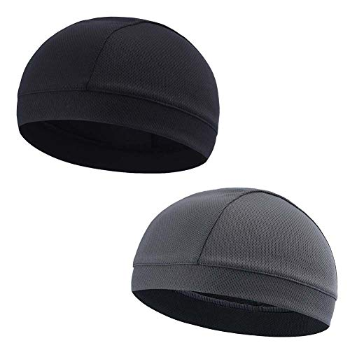 Moisture Wicking Cooling Skull Cap/Helmet Liner/Running Beanie Caps - Motorcycle Cycling Breathable Dome Cap Sweatband (1xBlack+1xGray, One Size)
