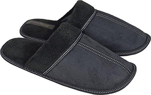 Para hombre sintética ante Mules suave Comfy Home Zapatillas ligero Gris - gris