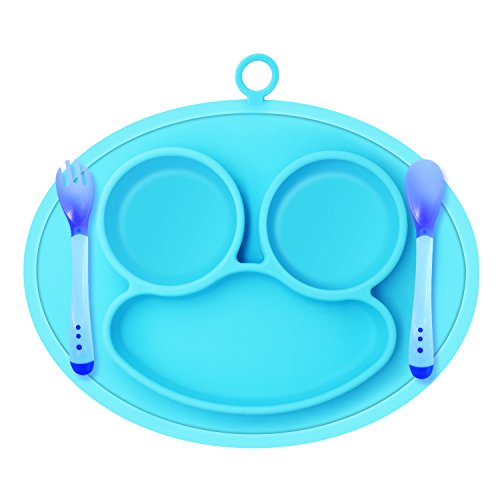 Silicone Baby Placemat, Kitchen Dining Table Suction Plates for Toddlers, Children, Kids, Fits Most Highchair Feeding Trays including Baby Spoon and Fork (Blue)