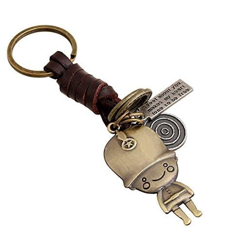 Fengteng Alliage Porte-clés Petits Cadeaux Hommes et Femmes Rétro Dessin Animé Petit Garçon en Cuir Tressé Punk Keychain Porte-clés