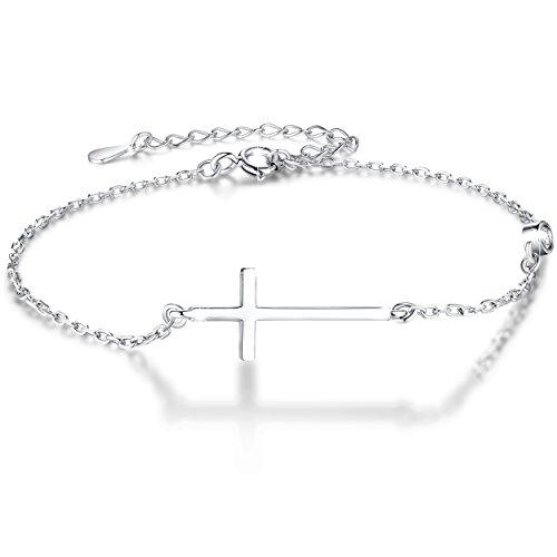 Boniris 925 Sterling Silver Cross Bracelet Womens in Good Faith CZ Chain Bracelet with Cross for Anniversary, Birthday and Graduation