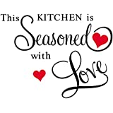StickersKart Wall Stickers Wall Quotes Kitchen Seasoned with Love (Wall Covering Area: 75cm x 80cm)
