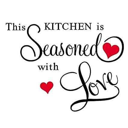 Decals Design Kitchen Seasoned with Love Wall Sticker (PVC Vinyl, 70 cm x 50 cm, Black)
