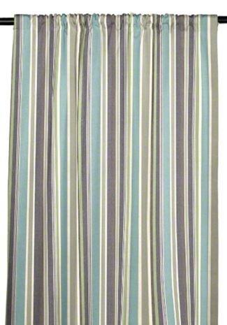 RSH Décor Indoor/Outdoor Sunbrella Curtain Drapery Panel with Rod-Pocket (Sunbrella Brannon Whisper Mineral blue, Lime Green Cream & Plum Purple Stripe, 50