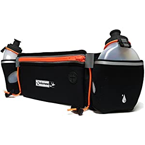 Running Hydration Belt with Water Bottles (2x BPA-free 10 Oz) Fits iPhone 6s plus- Light,Soft Neoprene Fuel Belt for Running,Race,Marathon,Hiking- Men & Women Runners belt with Water bottles (Orange)
