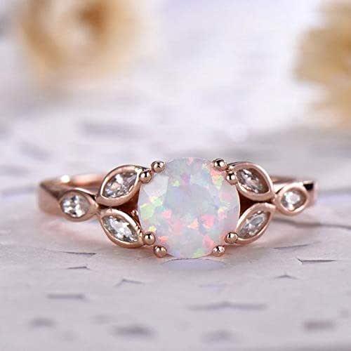 Amazon Com Antique Opal Engagement Ring Leaf Marquise Shape Cz