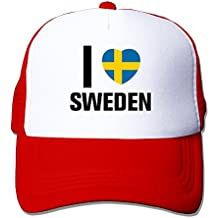 MZONE Unisex Snapback Cap Hats I Love Sweden Flag Sun Caps Red