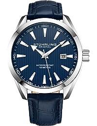 Stuhrling Original - Reloj analógico con fecha, correa de piel de becerro o pulsera de acero inoxidable, colección 3953 relojes para hombre, Leather/Blue