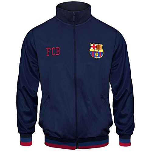 FC Barcelona Official Soccer Gift Mens Retro Track Top Jacket Navy Large - Retro Soccer Jackets
