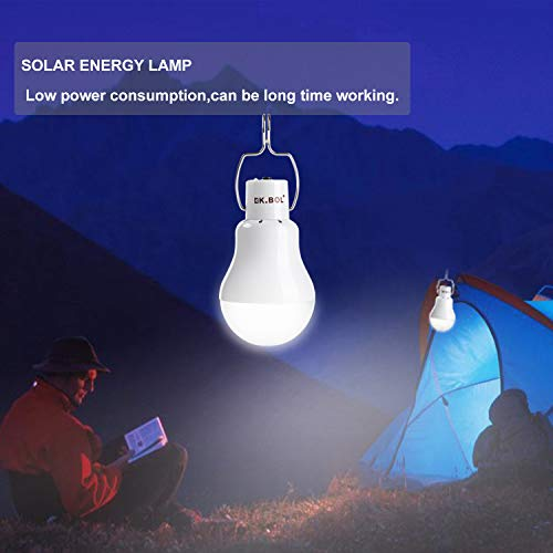 KK.BOL Solar Lamp Portable LED Light Bulb Solar Panel Powered Rechargeable Lantern Lights Lamps for Home Shed Barn Indoor Outdoor Emergency Hiking Tent Reading Camping Night Work Light (1600mAh 150LM) by KK.BOL (Image #4)