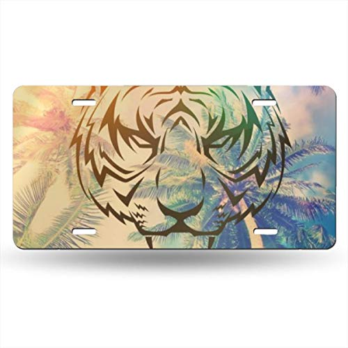 NVHBGIKL Tiger Pattern Personality Metal License Plate Decoration Card Aluminum 6