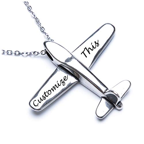 Fanery Sue Stereoscopic Aircraft Model Personalized Necklace Custom Engraved Name Pendant Necklace Pilot Gift(Engraving)