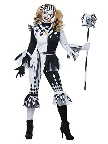 California Costumes Women's Crazy Jester Adult Woman Costume, Black/White, Large
