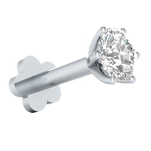 Demira Jewels 8 mm Long 16 Gauge Thick Screw Post 14k Gold Nose Lip Labret Monroe Stud with 3.00 mm Swarovski Solitaire