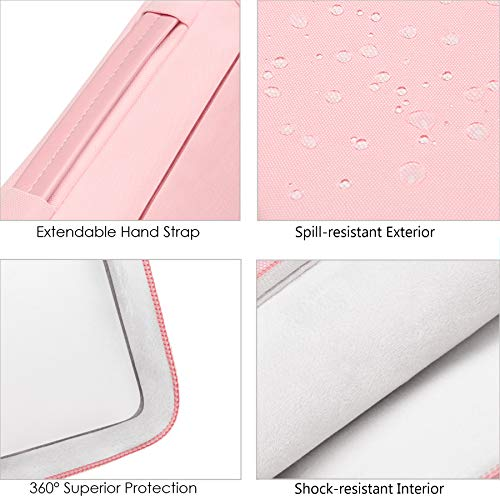 "Lacdo 360° Protective Laptop Sleeve Case for 16 inch New MacBook Pro A2141 2019, 15"" MacBook Pro Touch Bar 2012-2018, 15 inch Microsoft Surface Book 3 2, 15 inch Dell XPS, Computer Notebook Bag, Pink"