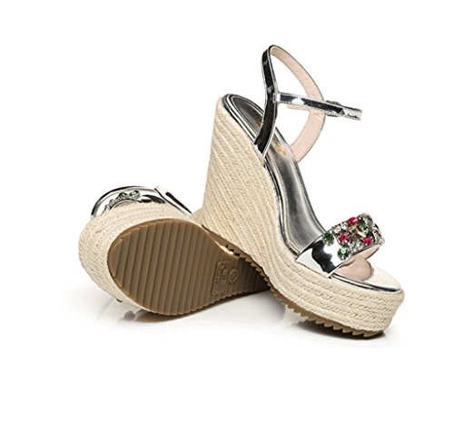 Ankle Shoes 37 Sexy Summer Sandals Wedge 10cm Size Color Woven Heeled Hand Shoes High Silver 6Sq6f18