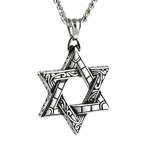 HZMAN Magen Star of David Pendant Necklace Women Men Chain Silver Stainless Steel Israel Necklace (Silver)