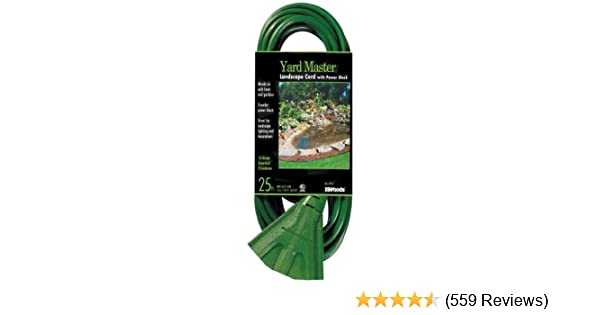 Woods 984413 25-Foot Extension Cord with 3-Outlet Block, Weatherproof Flexible Jacket,13 AMP, 125 Volt, 1625 watts, Ideal for Use with Landscaping Appliances and Powering Outdoor Lighting, ft