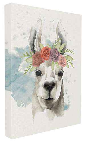 The Stupell Home Decor Collection Watercolor Llama Del Rey Stretched Canvas Wall Art Artwork, 16