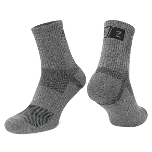 - 281Z Hiking Cotton Cushioned Micro Crew Boot Socks - Moisture Wicking - Odor Resistant - Outdoor Sport Military Tactical Trekking (Dark Grey Medium 1 Pair)