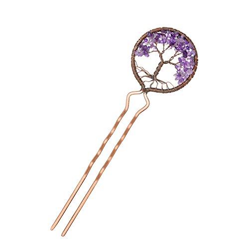 Tree of Life Hair Clips Natural Gemstone Handmade Chakra Amethyst Stone Hair Pins for Women