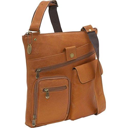 David King Leather Multi pocket cross body bag in Tan (David King Distressed Leather)