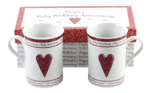 40th Ruby Wedding Anniversary Gift Set Ceramic Mugs By Haysom Interiors (Anniversary Gifts For 40 Years)