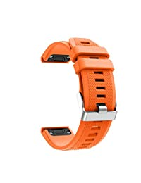 Efitty Replacement Soft Silicagel Quick Release Kit Wrist Band Strap For Garmin Forerunner 935 GPS Watch (Orange)