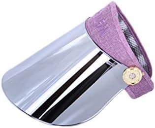 サンバイザー レディース ハット レインバイザー 自転車 バッテリカー UVカット UPF50+ 紫外線対策 日焼け対策 つば広 帽子 ブルー ミラーシールド 調整可能