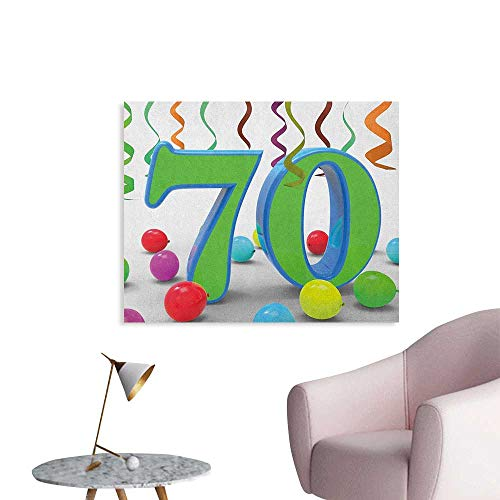 Anzhutwelve 70th Birthday Painting Post House Party Theme with Colorful Balloons and Curls Fun Event Image Cool Poster Fern Green and Blue W36 xL24