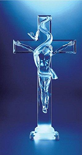 Pack of 2 Icy Crystal Illuminated Religious Jesus on Cross Figures - Cross Illuminated