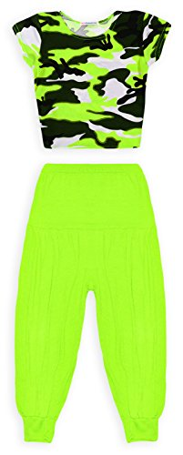 [Jolly Rascals Girls Neon Camo Crop Top Harem Pant Outfit Neon Green 7-8 Years] (Neon Outfits)
