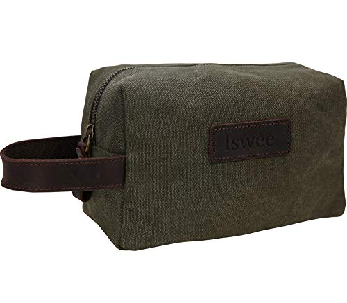 Iswee Travel Kit Bag Canvas Leather Toiletry Bag Cosmetic Bag Bathroom Bag Army Green