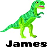 Tarbosaurus Dinosaur Personalized Custom Name Wall Decals Wall Design Stickers Vinyl Removable Children Kids Rooms Girls Boys Baby Nursery Cartoon Size 20x20 inch