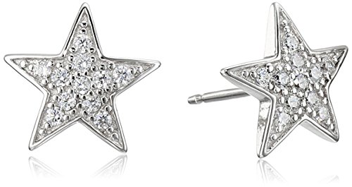 Sterling Silver Cubic Zirconia Star Stud Earrings - Pave Star Earrings