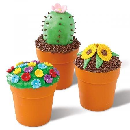 (Flower Pot Cupcake Molds - Set of 12 2