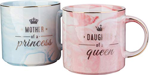 Mother of A Princess Daughter of A Queen Funny Mom And Daughter Coffee Mug Set 12 OZ -Best Christmas Birthday Gift for Mother Daughter Matching Gifts Idea (For And Gifts Mother Daughter)