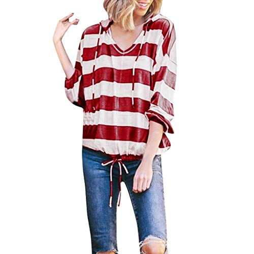 (Tantisy ♣↭♣ Women's V-Neck Long Sleeve Pullover Casual Striped Drawstring Hoodie Sweatshirts Blouses Ladies Tops Red)