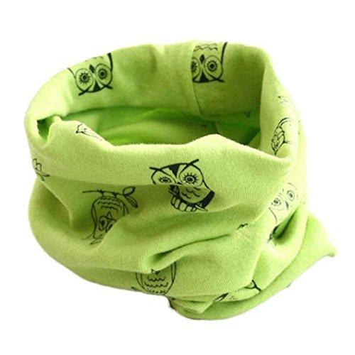 Auxma Invierno del bebé de la bufanda de cuello,Algodón Pañuelos Impresión de buho Verde